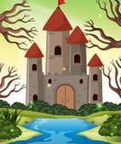 Castle in wood scenes. Illustration royalty free illustration