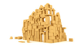 The castle of the wooden cubes Royalty Free Stock Image