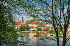 Castle In The Woods. A Village In The Woods, Telč, Czech Republic stock photo