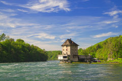 The castle Worth on the Rhine Falls. Royalty Free Stock Photography