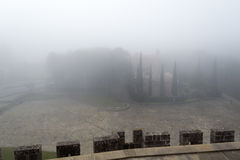 Castle of Xavier on a foggy day (Spain) Royalty Free Stock Photos