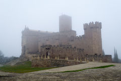 Castle of Xavier on a foggy day (Spain) Stock Images