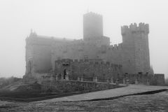 Castle of Xavier on a foggy day (Spain) Stock Photography