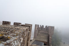 Castle of Xavier on a foggy day (Spain) Stock Photo