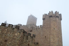 Castle of Xavier on a foggy day (Spain) Royalty Free Stock Photography