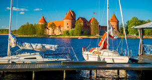 Castle and yachts Royalty Free Stock Photography