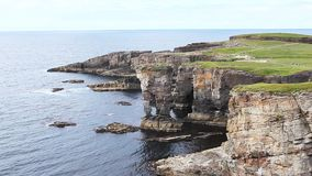 The Castle of Yesnaby on the Orkney Islands stock video footage