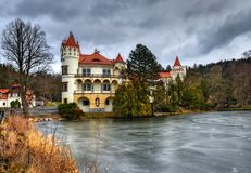Castle Zinkovy. The gloomy February afternoon at the castle pond Royalty Free Stock Photo