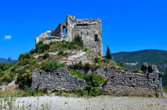 The castle Zuccarello, Savona, Italy. Zuccarello is a comune (municipality) in the Province of Savona in the Italian region Liguria, located about 70 km Royalty Free Stock Image