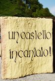 Castle of Zumelle, in Belluno, Italy, welcom inscription. Castle of Zumelle, in Tiago, in Mel province, Belluno, Italy. Medieval castle and welcom inscription Stock Photo