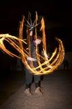 Изумительный танец выставки огня на ноче, передовице, 26/02/2016 Castlefield Манчестере Стоковые Фотографии RF