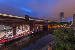 Castlefield Basin at Night Royalty Free Stock Images