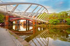 Castlefield, het gebied van het binnenstadsbehoud in Manchester, het UK royalty-vrije stock afbeeldingen