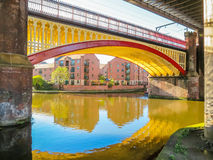 Castlefield, Manchester, England, United Kingdom. Bridges and canals of the Castlefield, an inner city conservation area, Manchester, England, United Kingdom royalty free stock image