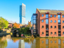 Castlefield, Manchester, England, United Kingdom. Bridges and canals of the Castlefield, an inner city conservation area, Manchester, England, United Kingdom stock photo