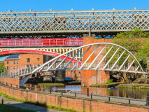 Castlefield, Manchester, England, United Kingdom. Bridges and channels of the Castlefield, an inner city conservation area, Manchester, England, United Kingdom royalty free stock photography