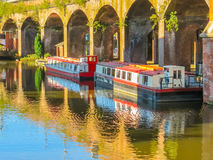 Castlefield, Manchester, England, United Kingdom. Houseboat on the channel of the Castlefield, an inner city conservation area, Manchester, England, United stock photography