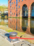 Castlefield, Manchester, England, United Kingdom. Old brick warehouses on Castlefield& x27;s channels. Castlefield, Manchester, England, United Kingdom royalty free stock images