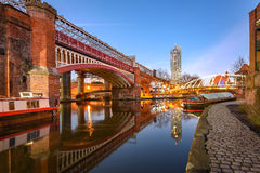 Castlefield, Manchester, England. View of Manchester tallest building Beetham Tower, reflecting in Manchester Canal royalty free stock image