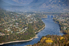 Castlegar and Kootenay River Stock Images