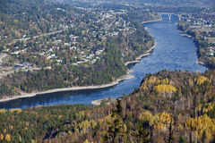 Castlegar and Kootenay River Stock Photo