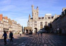 Castlegate, Mercat kors och citadell, Aberdeen, Skottland Royaltyfri Fotografi