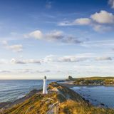 Castlepoint Lighthouse Wairarapa New Zealand royalty free stock photo