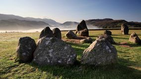 Castlerigg Misty Morning. A misty morning view across Castlerigg stone circle near Keswick, Cumbria in the English Lake District National Park stock video footage