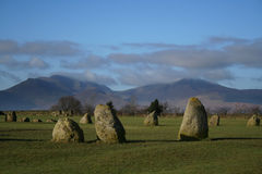Castlerigg stone circle. Nr Keswick in Cumbria, Lake District, north west England, GB, UK, example of ancient heritage in Great Britain Stock Photos