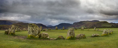 Castlerigg Stone Circle in the Lake District. A panoramic view of the magnificent Castlerigg Stone Circle in the Lake District in Cumbria, UK Royalty Free Stock Images