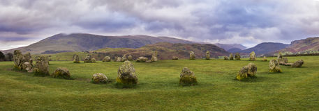 Castlerigg Stone Circle in the Lake District. A panoramic view of the magnificent Castlerigg Stone Circle in the Lake District in Cumbria, UK Royalty Free Stock Photography