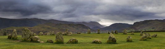 Castlerigg Stone Circle in the Lake District. A panoramic view of the magnificent Castlerigg Stone Circle in the Lake District in Cumbria, UK Stock Image