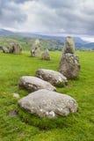 Castlerigg Stone Circle, near Keswick, Cumbria, England. Castlerigg Stone Circle, near Keswick, English Lake District. Cumbria, England, UK, under a threatening Stock Photos