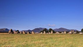 Castlerigg Stone Circle. Is situated near Keswick, Cumbria in the English Lake District national park stock video