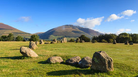 Castlerigg Stone Circle. Is situated near Keswick, Cumbria in the English Lake District national park.  Blencathra one of the highest peaks in Cumbria is in the Royalty Free Stock Photo