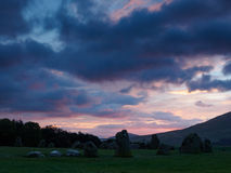 Castlerigg Stone Circle. Sunrise behind the Neolithic Castlerigg Stone Circle near Keswick in Lake District Royalty Free Stock Photo