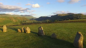 Castlerigg View. The view from Castlerigg Stone Circle towards St John's in the Vale. The stone circle is near Keswick, Cumbria in the English Lake District stock video