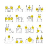 Castles and bastions line icons Stock Photography