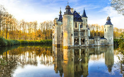Castles of Belgium, Antwerpen region. Fairytale medieval castles of Europe.Belgium, Antwerpen region stock photos