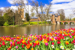 Castles of Belgium -Groot-Bijgaarden. With beautiful gardens stock photos