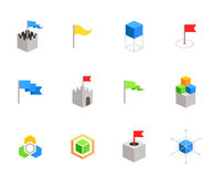 Castles and cubes flat vector symbols for branding Stock Photo
