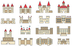 CASTLES Filled Outline Icons Stock Photos