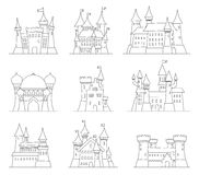Castles and fortresses flat design vector icons. Set of 9 illustrations of ruins, mansions, palaces, villas and other. Castles and fortresses flat design vector Stock Images