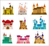 Castles and fortresses flat design vector icons. Set of illustrations of ruins, mansions, palaces, villas and other. Medieval buildings Royalty Free Stock Photography