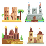 Castles and fortresses flat vector icons set. Cartoon fairy medieval with towers. Castles and fortresses flat vector icons set. Cartoon fairy medieval castles Stock Photo