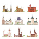 Castles and fortresses set. Flat cartoon style vector illustrations collection. Stock Photos