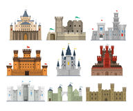 Castles and fortresses vector icon set Stock Photos