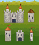 Castles and fortresses vector icons Stock Photos