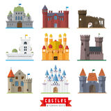 Castles and fortresses vector icons Stock Image