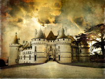 Castles of France. Mysterious castle Chaumont on sunset - artistic picture Stock Photography